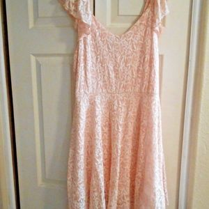 Disney Cinderella Peach Lace Dress W Toule Hem New
